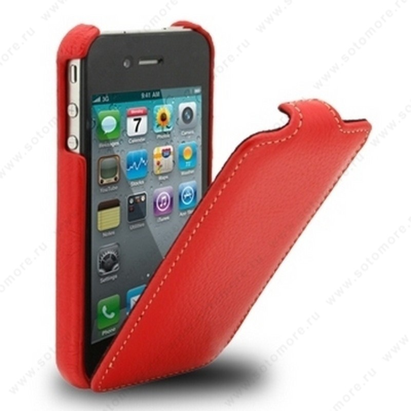 Чехол-флип Melkco для iPhone 4s/ 4 Leather Case Jacka Type (Red LC)