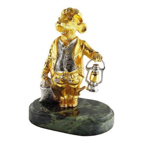 Статуэтка из бронзы Мышь с лампой 12 см. Позолота