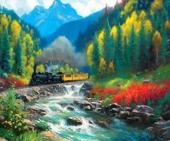 Картина раскраска по номерам 40x50 Река в горах