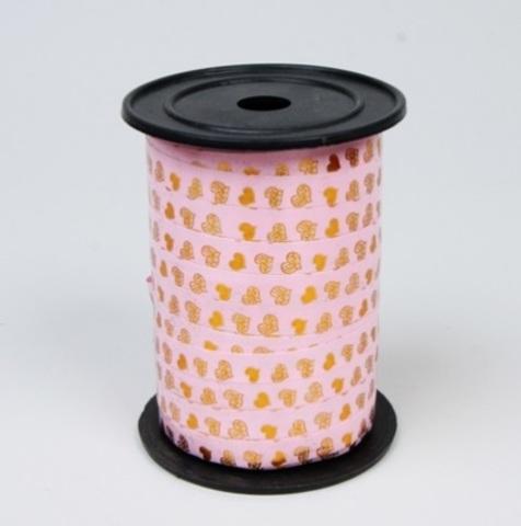 Лента простая 1/100 с нанесением металла, сердца РД нежно-розовая