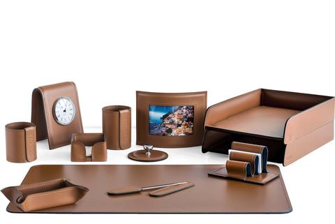 Настольный органайзер из кожи 12 предметов цвет табак
