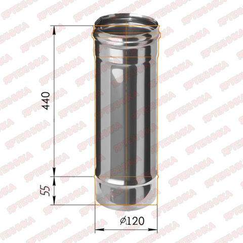 Труба моно 0,5м d120мм (430/0,5мм) Ferrum