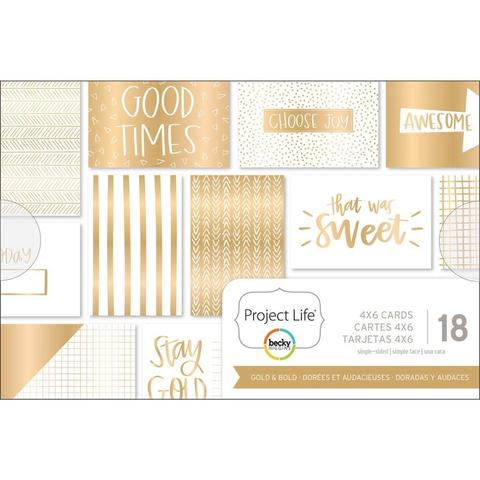 Набор карточек 10х15см - Project Life Themed Cards -Gold & Bold-18шт