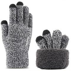 Вязаные мужские перчатки с тачскрином (Перчатки для сенсорных экранов) светло- серые