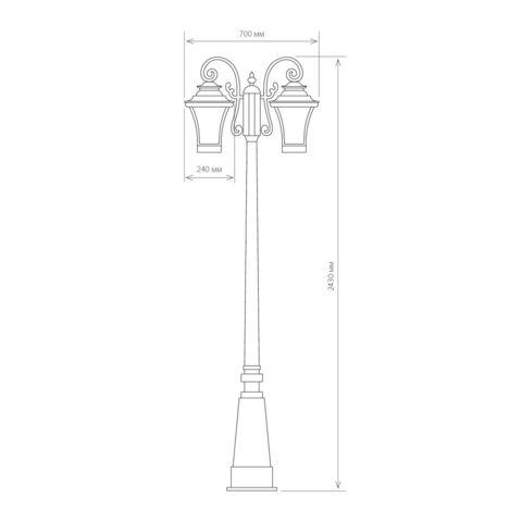 Libra F/2 венге уличный двухрожковый светильник на столбе IP33 GLXT-1408F/2