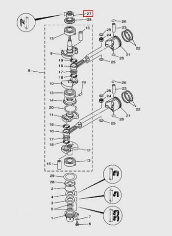 Сальник коленвала верхний 23х36х13х12  для лодочного мотора T15, OTH 9,9 SEA-PRO (3-27)