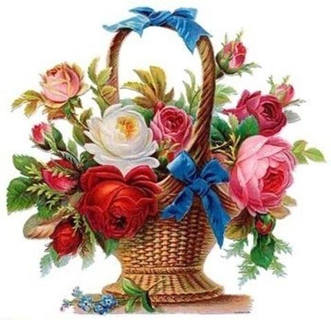 Алмазная Мозаика 50x65 Букет цветов в корзине с голубыми лентами