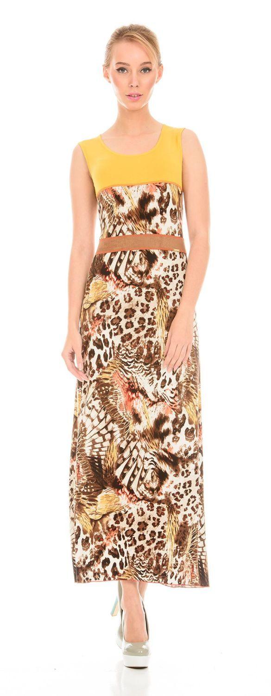Платье З084-200 - Трикотажное платье длины макси. Вставка из однотонной ткани в районе талии стройнит фигуру. Стильная и комфортная модель на каждый день.