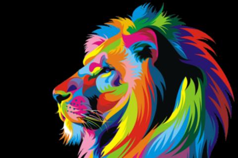 Картина раскраска по номерам 40x50 поп-арт лев