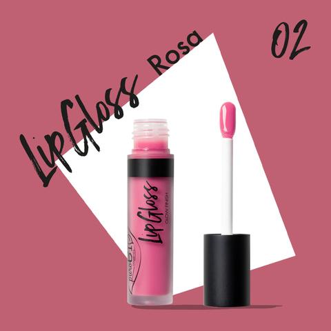 Жидкая помада-блеск для губ тон 02 роза | PuroBio