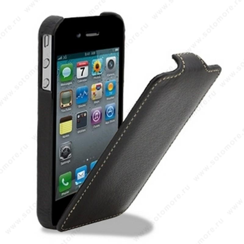 Чехол-флип Melkco для iPhone 4s/ 4 Leather Case Jacka Type (Black LC)