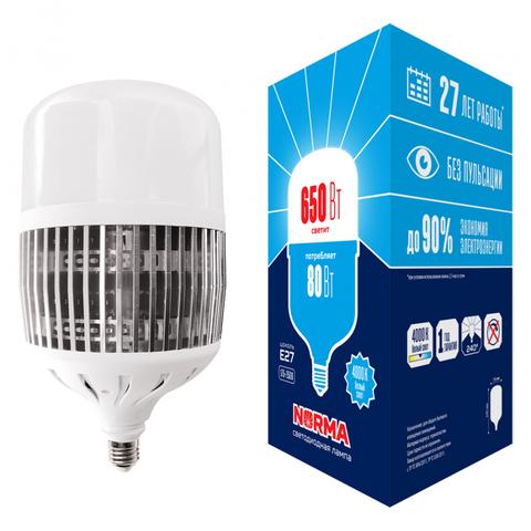 LED-M80-80W/4000K/E27/FR/NR Лампа светодиодная, матовая. Серия Norma. Белый свет (4000K). Картон. ТМ Volpe.