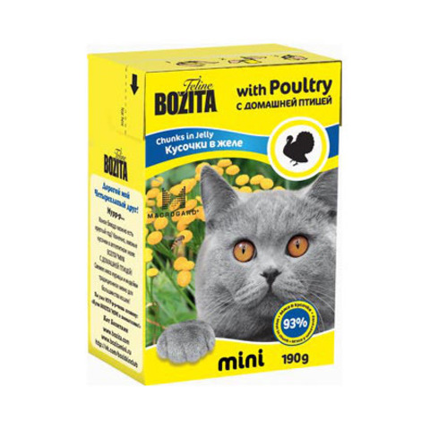 Консервы Bozita Mini кусочки в желе с домашней птицей для кошек
