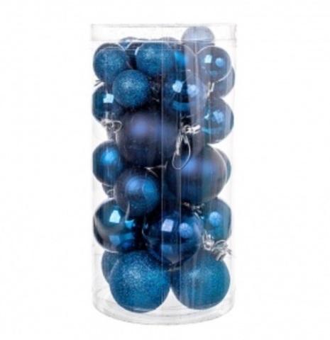 Набор шаров 36шт. (пластик), D3-5см, цвет: синий