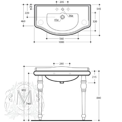 Раковина-консоль Bella Migliore  100см ML.BLL-25.100.BI схема