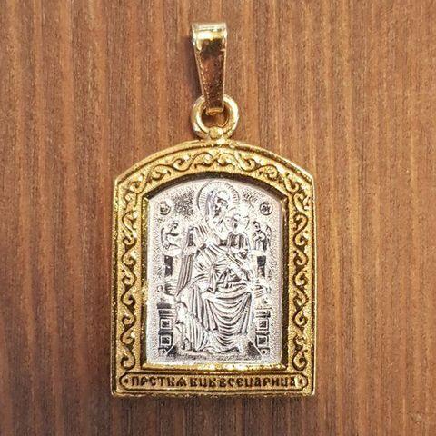 Нательная икона Пресвятой Богородицы Всецарица с позолотой кулон с молитвой
