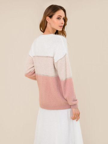 Женский джемпер с полосами бежево-розового цвета из ангоры - фото 4