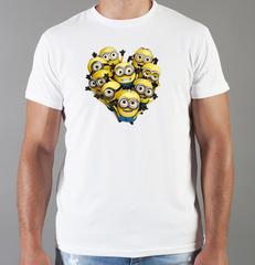 Футболка с принтом мультфильма Миньоны (Minions) белая 0013