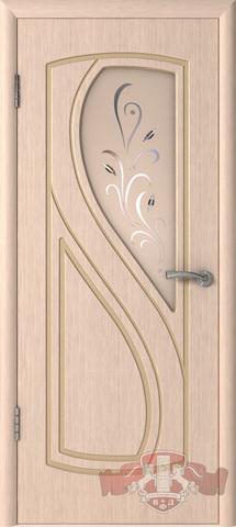 Дверь 10ДО5 (беленый дуб, остекленная шпонированная), фабрика Владимирская фабрика дверей