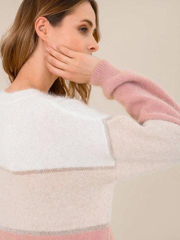 Женский джемпер с полосами бежево-розового цвета из ангоры - фото 3