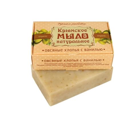 МДП Крымское натуральное мыло на оливковом масле ОВСЯНЫЕ ХЛОПЬЯ И ВАНИЛЬ, 100г