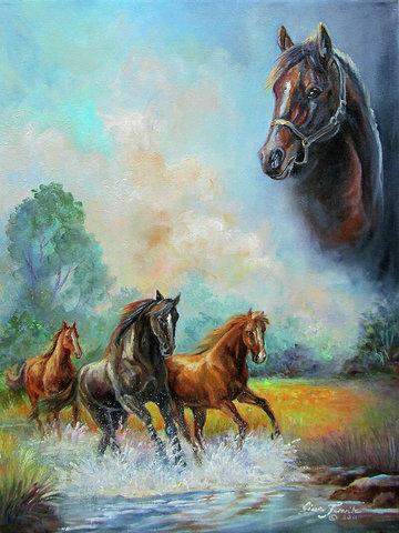 Алмазная Мозаика 50x65 Лошади