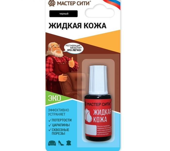 Жидкая кожа для ремонта изделий, цвет: черный, 20 мл фото