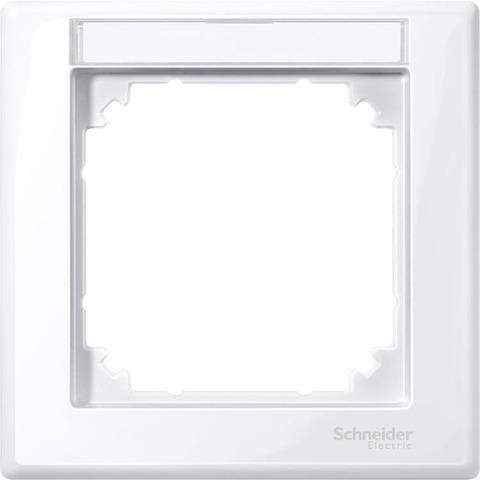 Рамка на 1 пост, с полем для надписи. Цвет Активный белый. Merten. M-Smart System M. MTN470125