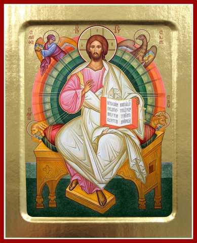 Икона Спас на престоле, на дереве, 125х160 мм