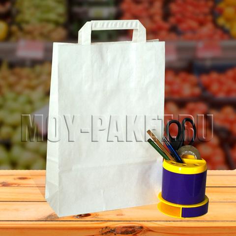 Крафт пакет белый с плоской ручкой 22x33x9 см