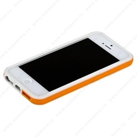 Бампер для iPhone SE/ 5s/ 5C/ 5 белый с оранжевой полосой