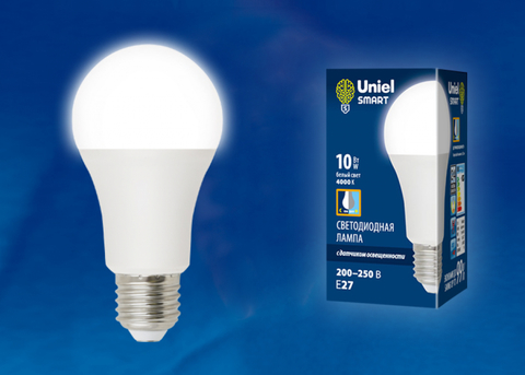 LED-A60-10W/4000K/E27/PS PLS10WH Лампа светодиодная с датчиком освещенности. Форма