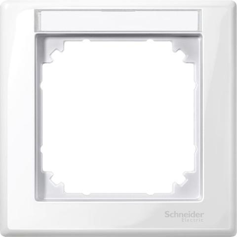 Рамка на 1 пост, с полем для надписи. Цвет Полярный белый. Merten. M-Smart System M. MTN470119