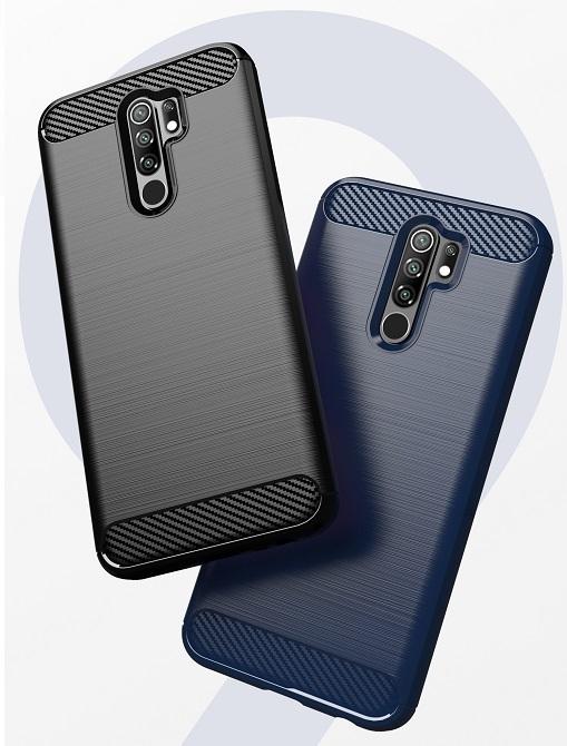 Чехол темно синего цвета на телефон Xiaomi Redmi 9, серии Carbon от Caseport