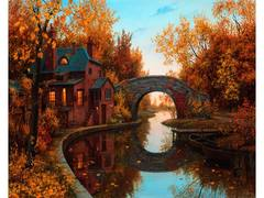 Картина раскраска по номерам 40x50 Домик у моста