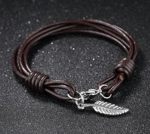 Браслет с листом на коричневом кожаном шнурке Steelman 94945