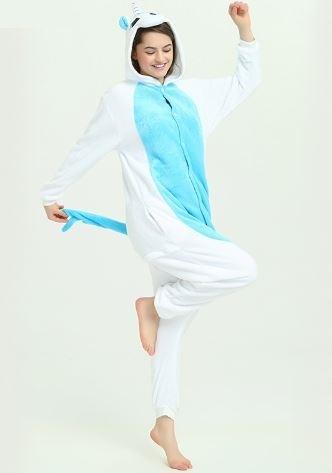 Пижама кигуруми Единорог белый с голубым