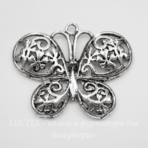"""Подвеска  """"Бабочка"""" филигрань (цвет - античное серебро) 23х19 мм"""