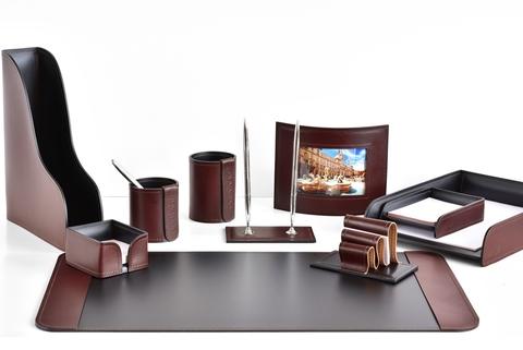 Письменный набор руководителя 10 предметов из кожи FG Bologna Brown/Cuoietto