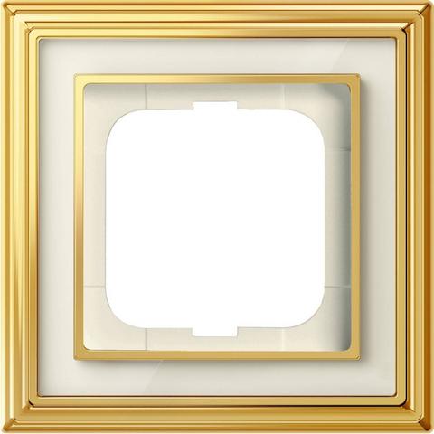 Рамка на 1 пост. Цвет Латунь полированная, белое стекло. ABB(АББ). Dynasty(Династия). 1754-0-4560