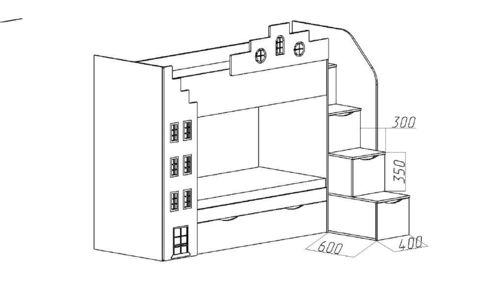 Двухъярусная кровать-домик с встроенным шкафом схема