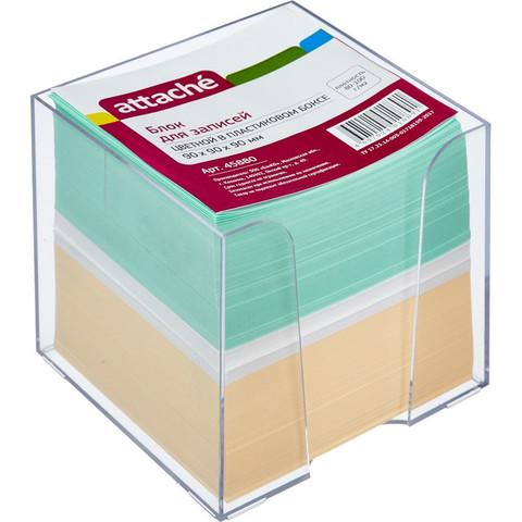 Блок для записей Attache 90x90x90 мм разноцветный в боксе (плотность 80-100 г/кв.м)