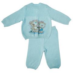 Папитто. Комплект кофточка и штанишки с принтом, голубой вид 2