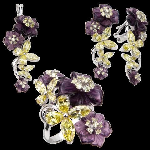 Комплект украшений с цветами из фиолетового кварца и фианитами № 141