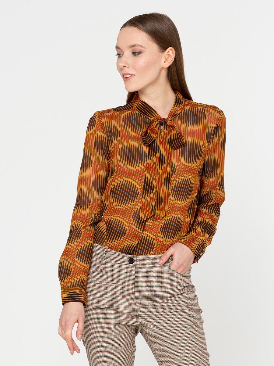 Блуза Г567-789 - Блуза классической формы из тонкой, слегка прозрачной вискозы. Супатная застежка и воротник-стойка с длинными концами, которые можно завязывать как бант или галстук. Шикарно смотрится на фигуре любого типа