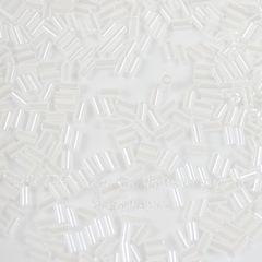 0121 Бисер японский TOHO Стеклярус (Bugle) #1, белый с блеском