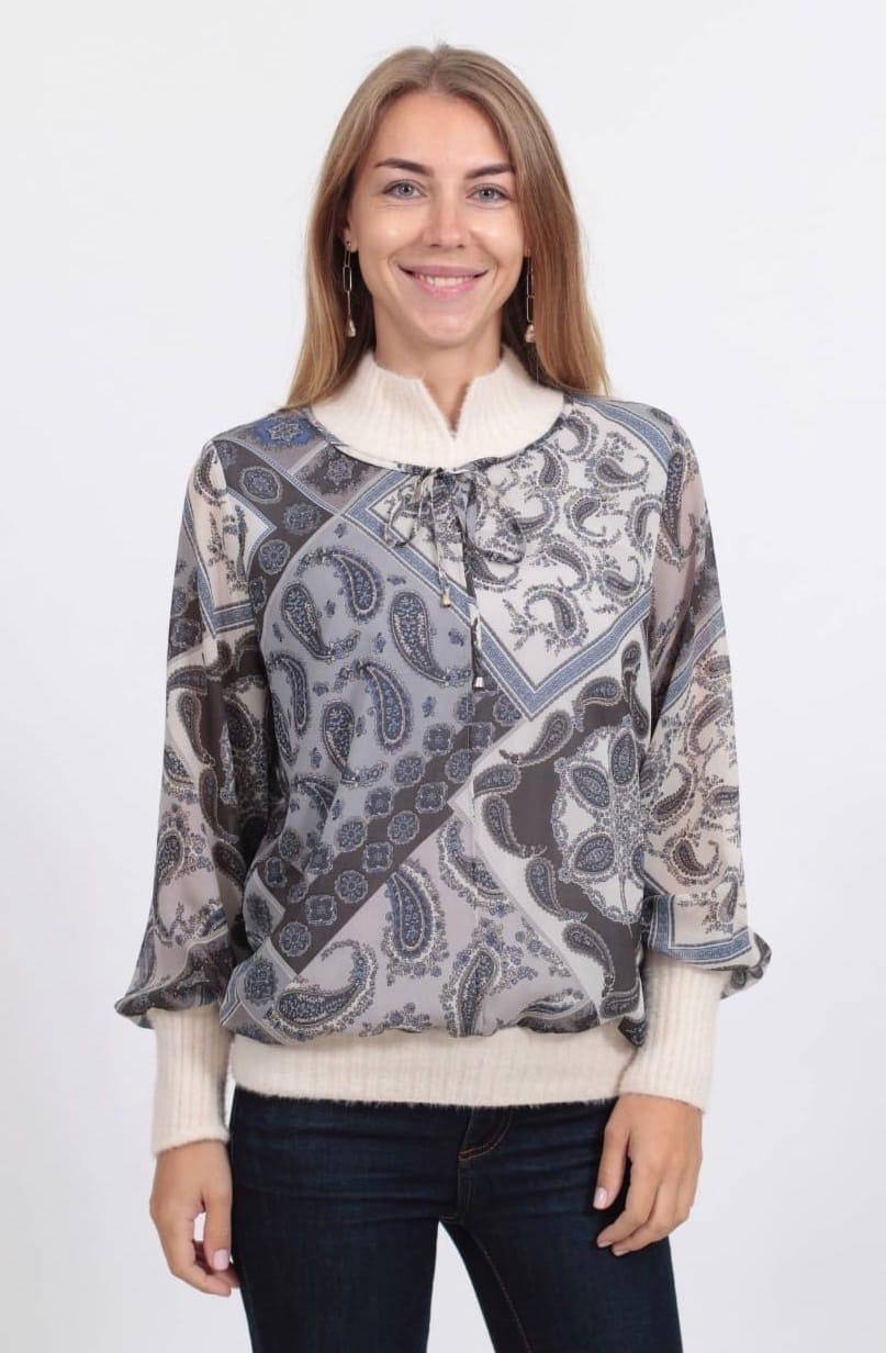 Блузка Teresa хомут завязка платки огурцы (О20)
