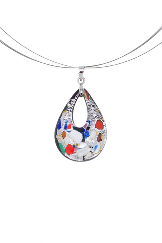 Кулон Арлекино серебристый малый из муранского стекла