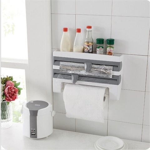 Полка - кухонный держатель 4 в 1 для пищевой пленки, фольги, кухонных бумажных полотенец