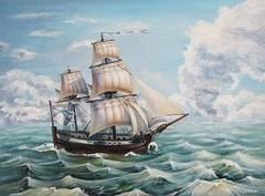 Картина раскраска по номерам 30x40 Корабль скачет по волнам